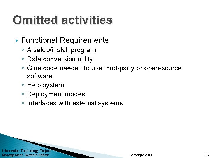 Omitted activities Functional Requirements ◦ A setup/install program ◦ Data conversion utility ◦ Glue
