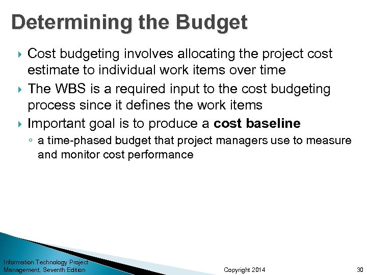 Determining the Budget Cost budgeting involves allocating the project cost estimate to individual work