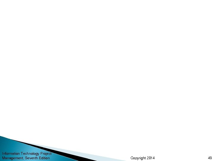 Information Technology Project Management, Seventh Edition Copyright 2014 49