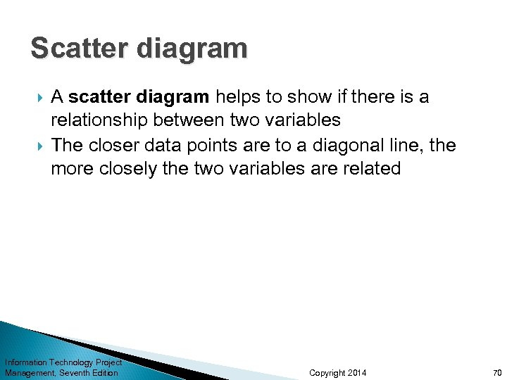 Scatter diagram A scatter diagram helps to show if there is a relationship between