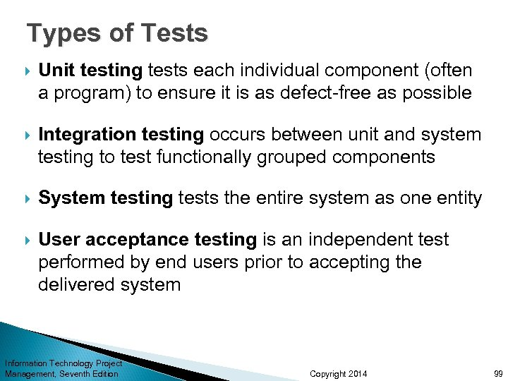 Types of Tests Unit testing tests each individual component (often a program) to ensure