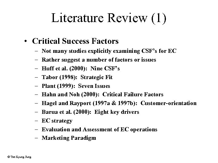 Literature Review (1) • Critical Success Factors – – – © Tae Kyung Sung