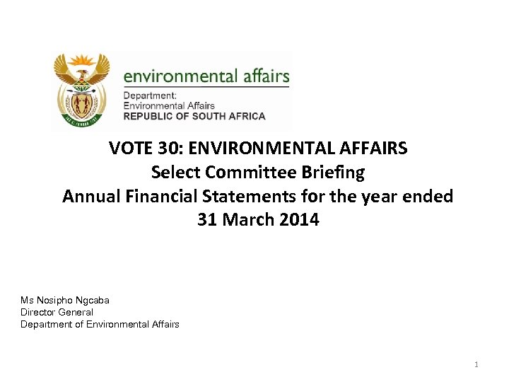 VOTE 30: ENVIRONMENTAL AFFAIRS Select Committee Briefing Annual Financial Statements for the year ended