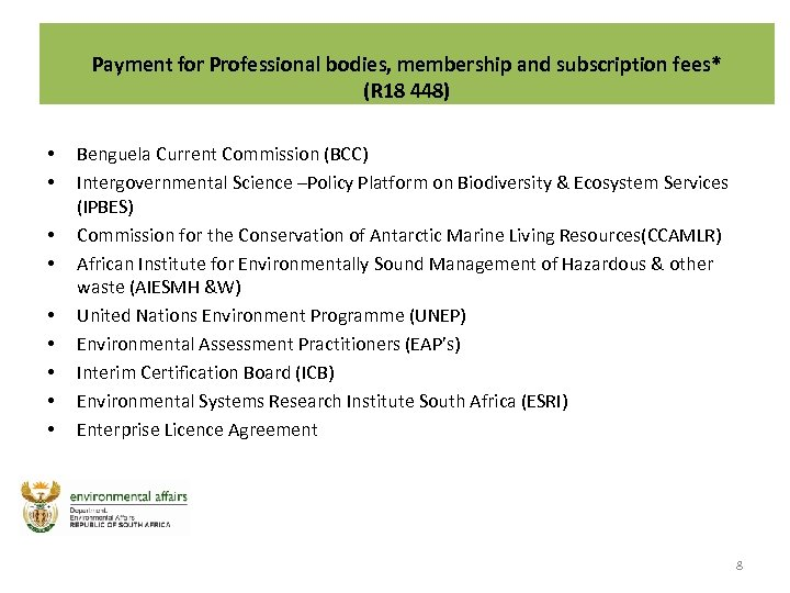 Payment for Professional bodies, membership and subscription fees* (R 18 448) • • •