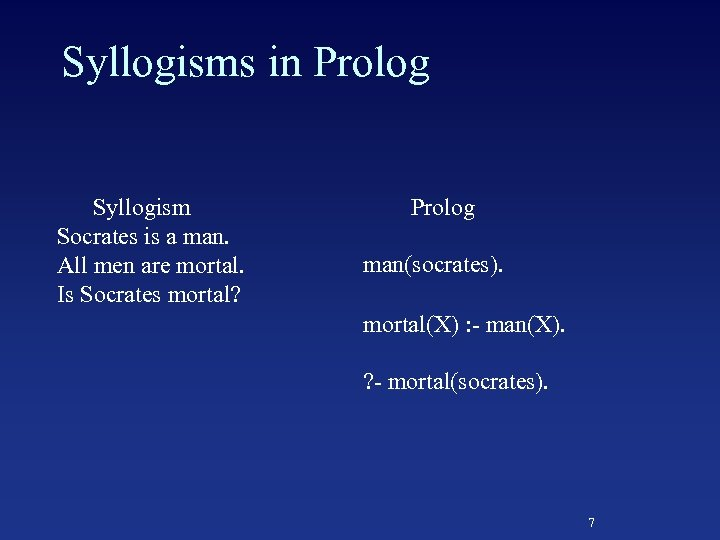 Syllogisms in Prolog Syllogism Socrates is a man. All men are mortal. Is Socrates