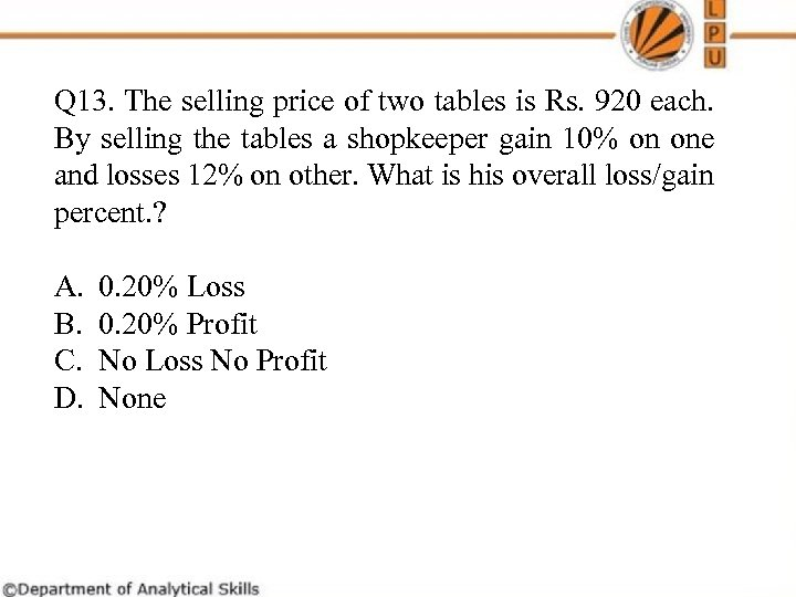 Q 13. The selling price of two tables is Rs. 920 each. By selling
