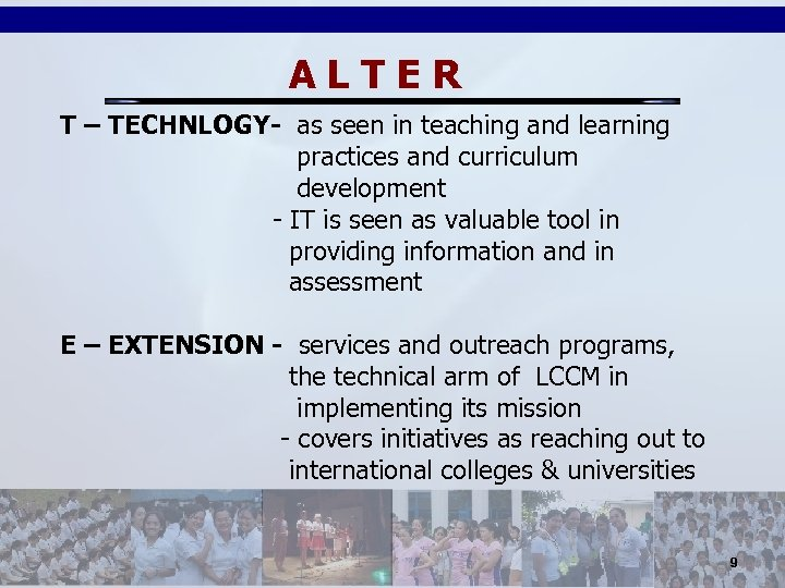 ALTER T – TECHNLOGY- as seen in teaching and learning practices and curriculum development