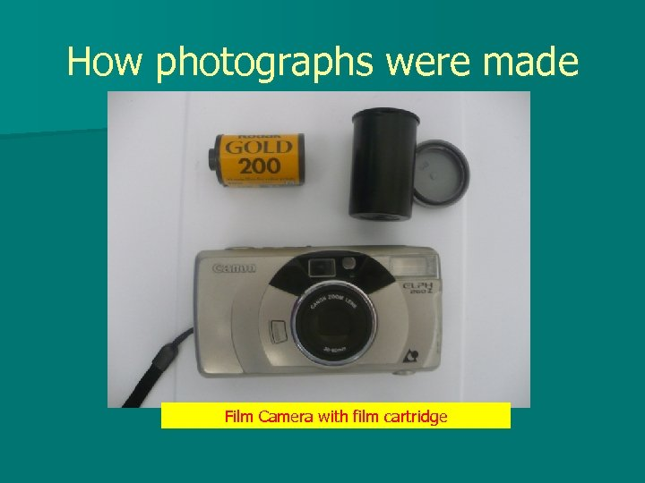 How photographs were made Film Camera with film cartridge