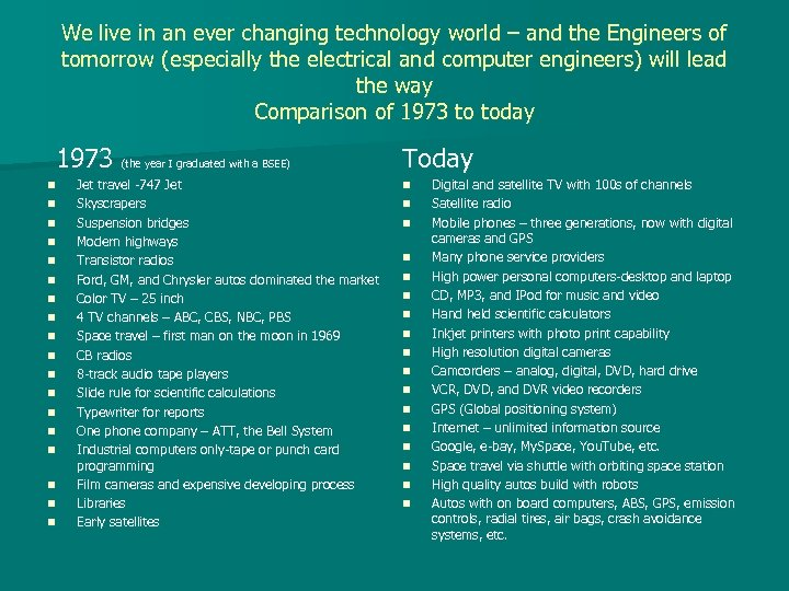 We live in an ever changing technology world – and the Engineers of tomorrow