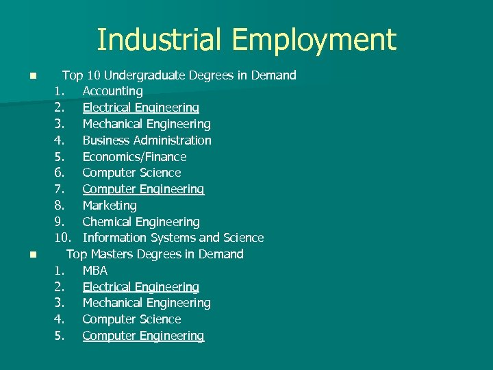 Industrial Employment n n Top 10 Undergraduate Degrees in Demand 1. Accounting 2. Electrical