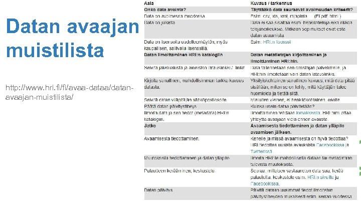 Datan avaajan muistilista http: //www. hri. fi/fi/avaa-dataa/datanavaajan-muistilista/