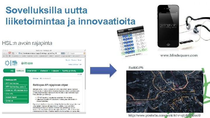 Sovelluksilla uutta liiketoimintaa ja innovaatioita HSL: n avoin rajapinta www. blindsquare. com Reitti. GPS