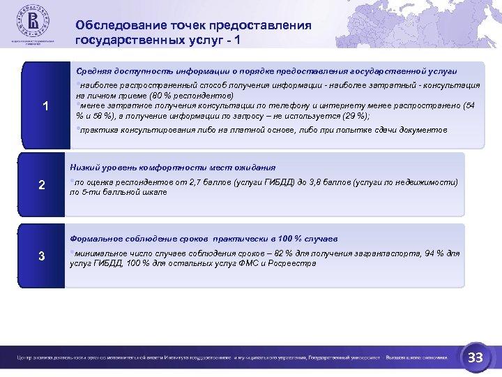 Обследование точек предоставления государственных услуг - 1 Средняя доступность информации о порядке предоставления государственной