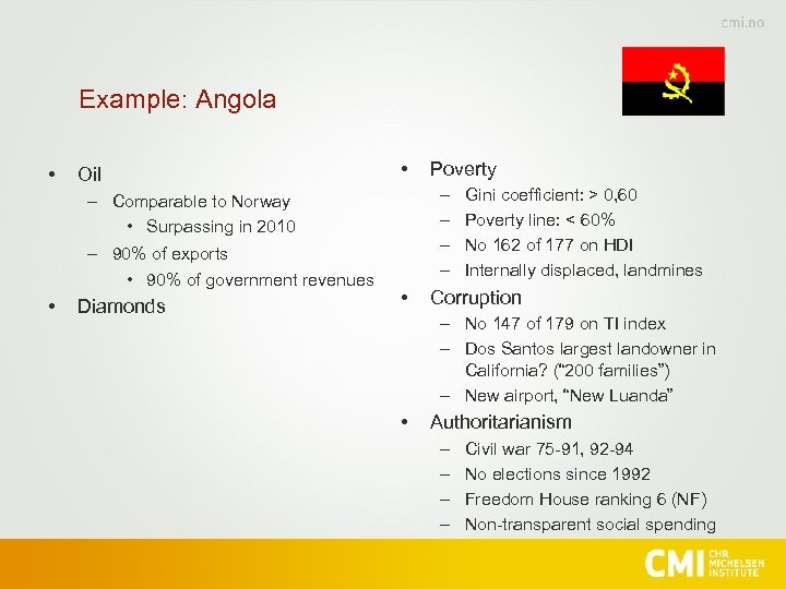 Example: Angola • Oil • – – – Comparable to Norway • Surpassing in
