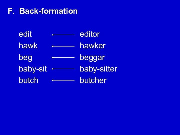 F. Back-formation edit hawk beg baby-sit butch editor hawker beggar baby-sitter butcher
