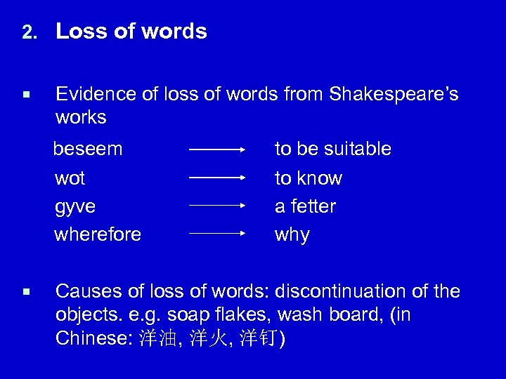 2. Loss of words ¡ Evidence of loss of words from Shakespeare's works beseem
