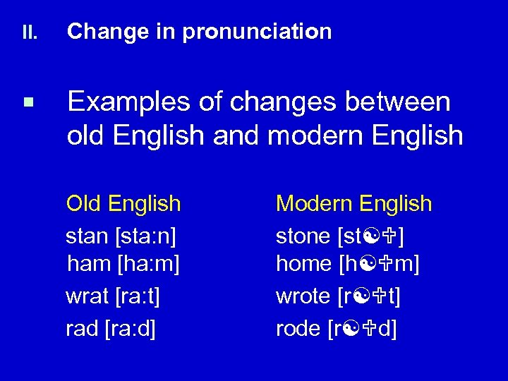 II. Change in pronunciation ¡ Examples of changes between old English and modern English