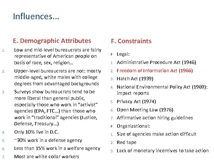 Influences… E. Demographic Attributes 1. 2. 3. Low and mid-level bureaucrats are fairly representative