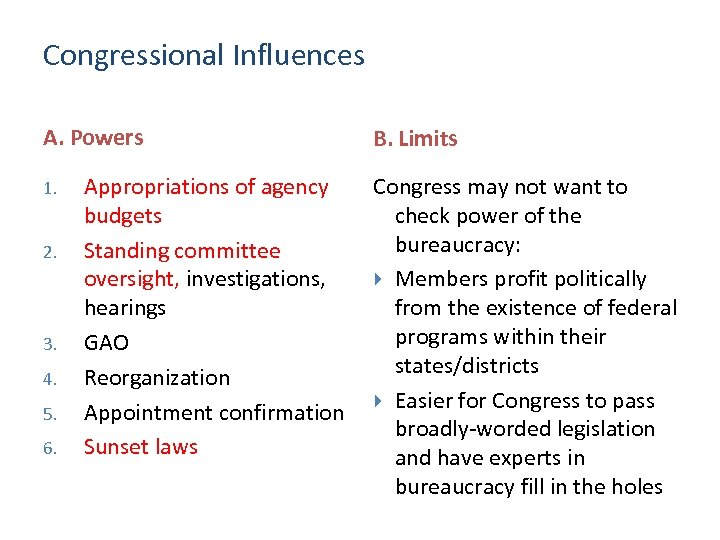 Congressional Influences A. Powers 1. 2. 3. 4. 5. 6. Appropriations of agency budgets