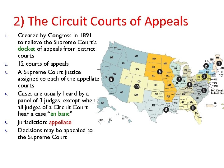 2) The Circuit Courts of Appeals 1. 2. 3. 4. 5. 6. Created by