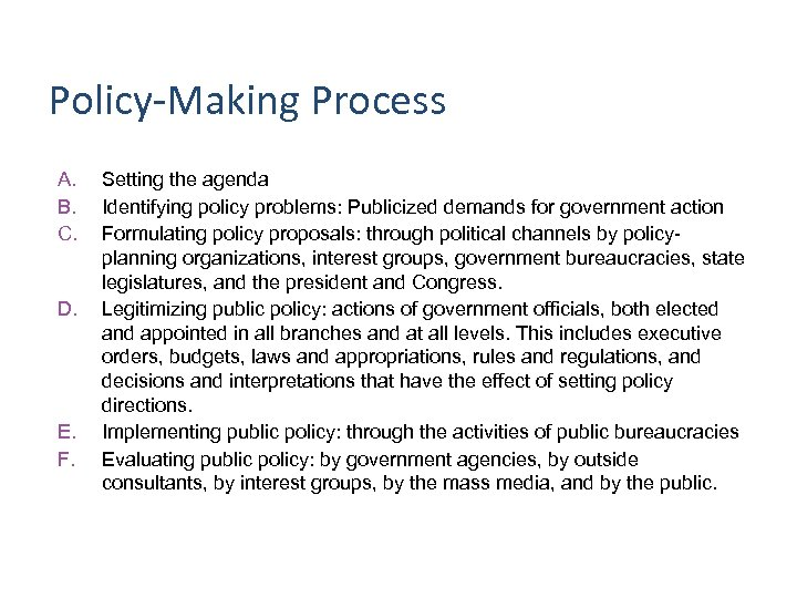Policy-Making Process A. B. C. D. E. F. Setting the agenda Identifying policy problems:
