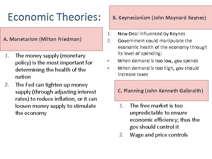 Economic Theories: A. Monetarism (Milton Friedman) 1. The money supply (monetary policy) is the