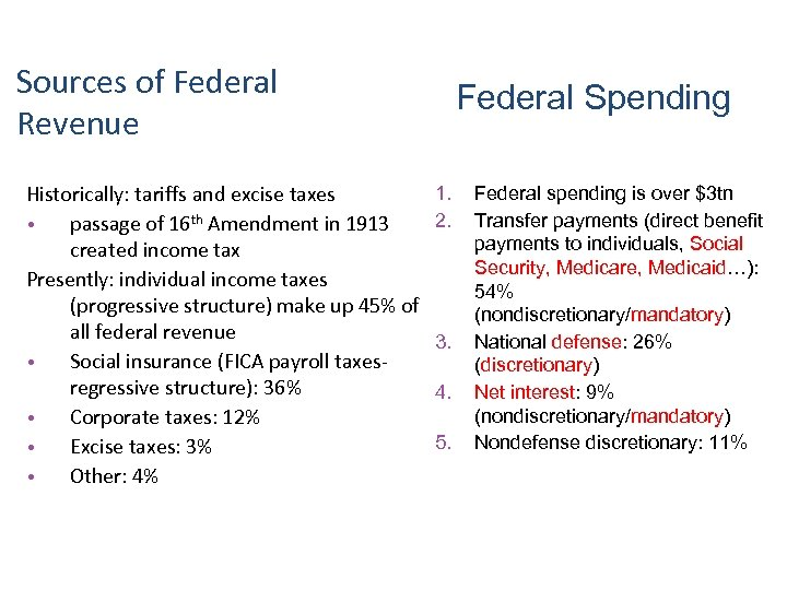 Sources of Federal Revenue Historically: tariffs and excise taxes • passage of 16 th
