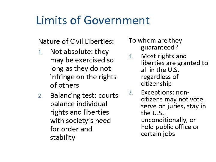 Limits of Government Nature of Civil Liberties: 1. Not absolute: they may be exercised