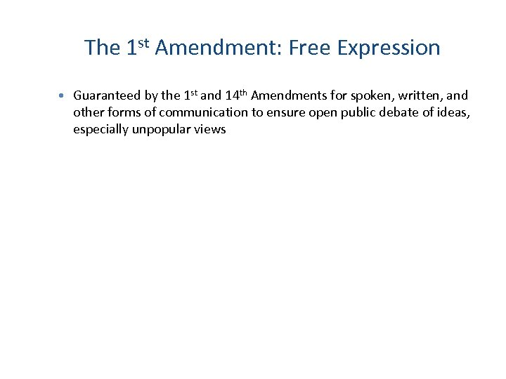 The 1 st Amendment: Free Expression Guaranteed by the 1 st and 14 th