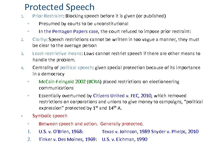 Protected Speech Prior Restraint: Blocking speech before it is given (or published) 1. ◦