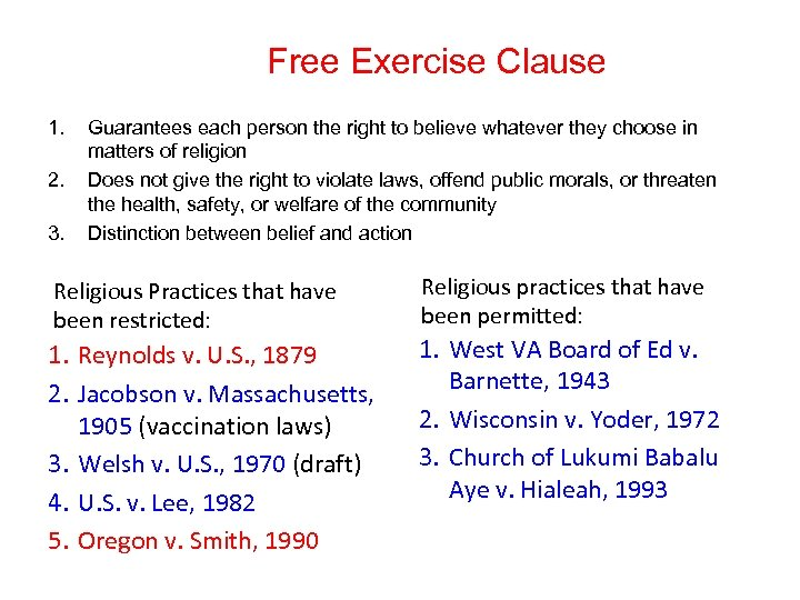 Free Exercise Clause 1. 2. 3. Guarantees each person the right to believe whatever