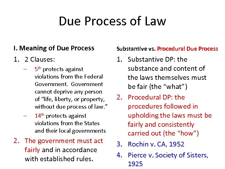 Due Process of Law I. Meaning of Due Process Substantive vs. Procedural Due Process