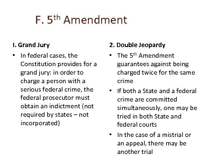 F. 5 th Amendment I. Grand Jury 2. Double Jeopardy • In federal cases,