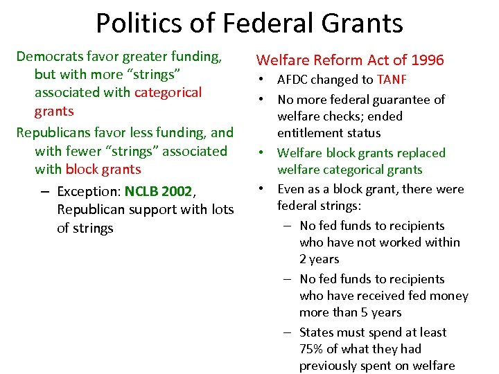 """Politics of Federal Grants Democrats favor greater funding, but with more """"strings"""" associated with"""