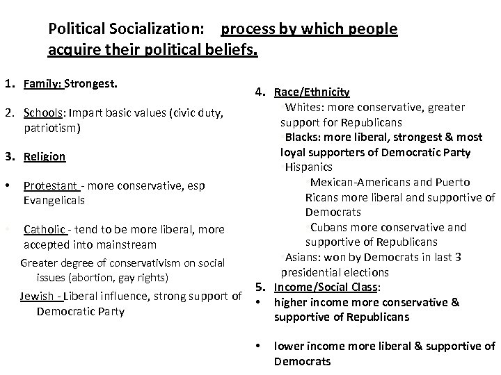 Political Socialization: process by which people acquire their political beliefs. 1. Family: Strongest. 2.