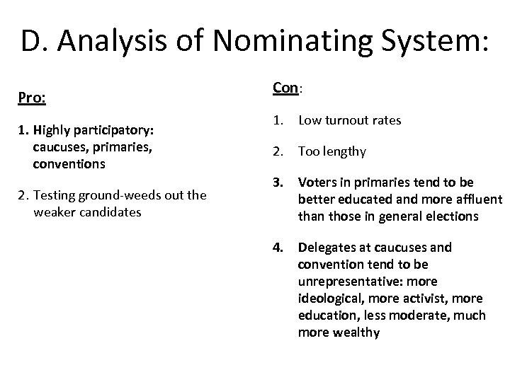 D. Analysis of Nominating System: Pro: 1. Highly participatory: caucuses, primaries, conventions 2. Testing