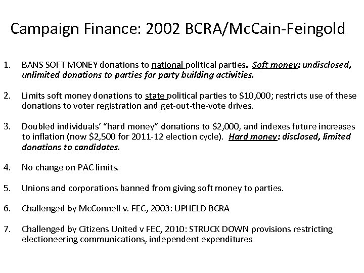 Campaign Finance: 2002 BCRA/Mc. Cain-Feingold 1. BANS SOFT MONEY donations to national political parties.
