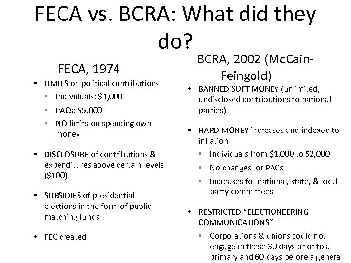 FECA vs. BCRA: What did they do? FECA, 1974 • LIMITS on political contributions