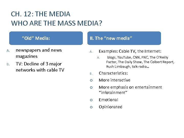 """CH. 12: THE MEDIA WHO ARE THE MASS MEDIA? I. A. B. """"Old"""" Media:"""