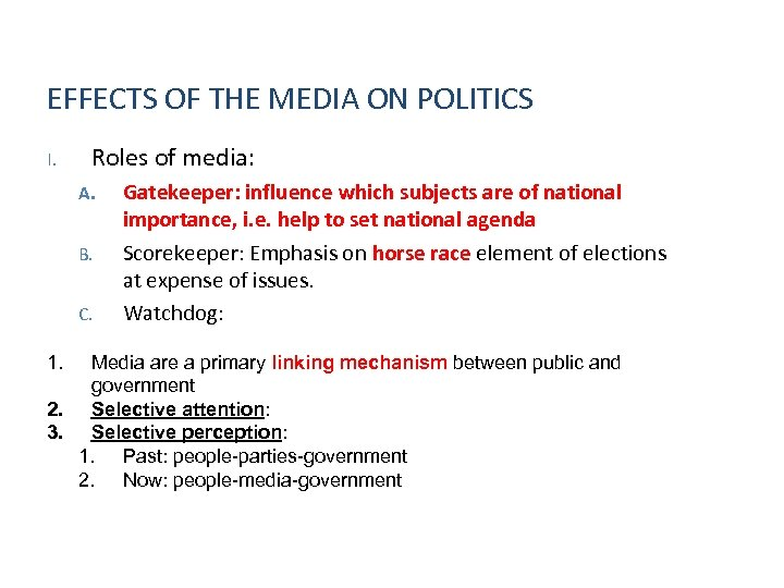 EFFECTS OF THE MEDIA ON POLITICS I. Roles of media: A. B. C. 1.