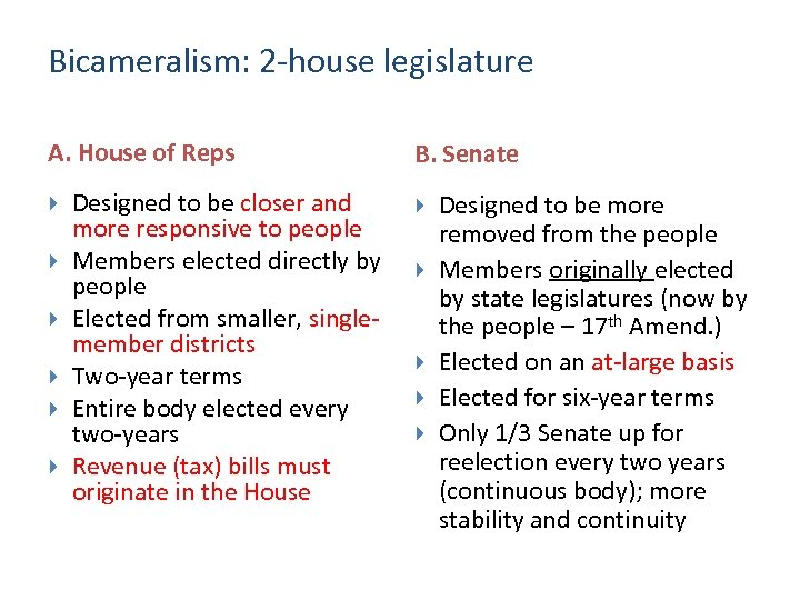 Bicameralism: 2 -house legislature A. House of Reps Designed to be closer and more
