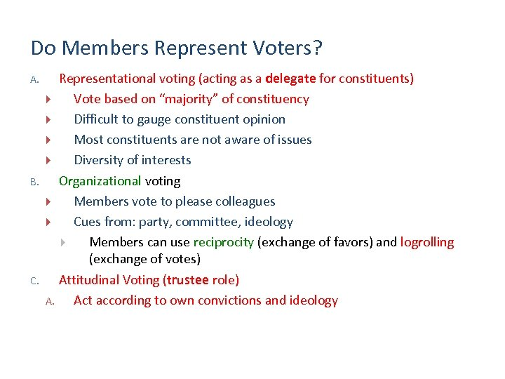 Do Members Represent Voters? A. B. C. Representational voting (acting as a delegate for