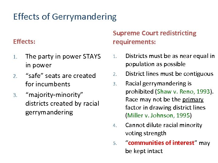 Effects of Gerrymandering Effects: 1. 2. 3. The party in power STAYS in power