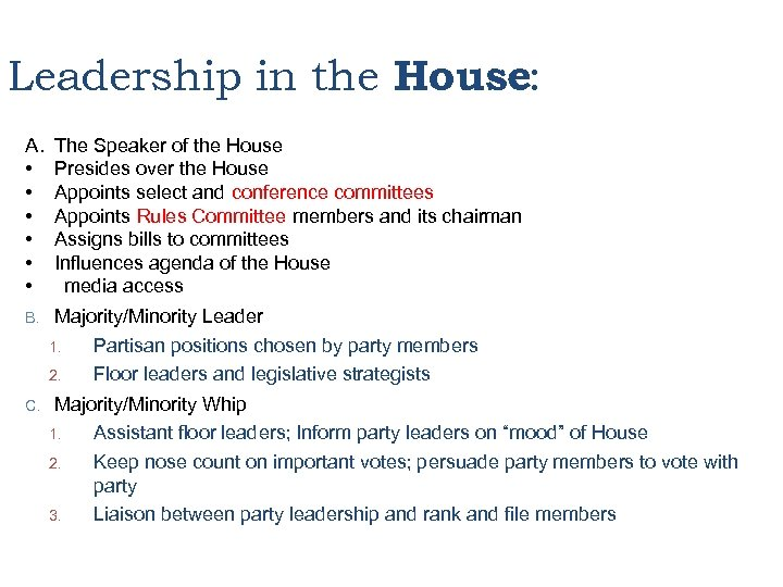 Leadership in the House: A. • • • The Speaker of the House Presides