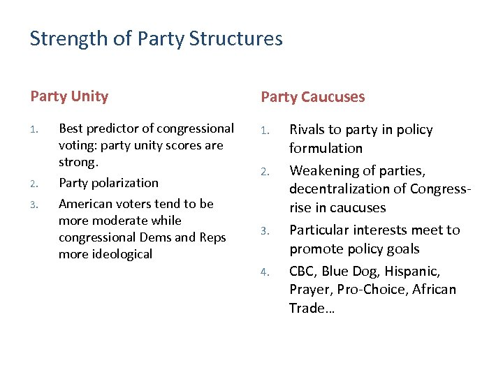 Strength of Party Structures Party Unity 1. 2. 3. Best predictor of congressional voting: