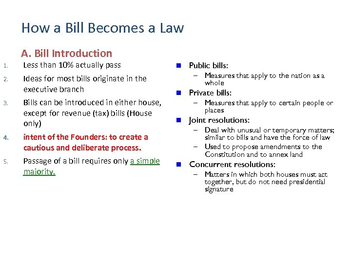 How a Bill Becomes a Law A. Bill Introduction 1. Less than 10% actually