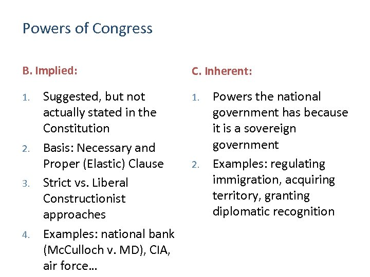 Powers of Congress B. Implied: 1. 2. 3. 4. Suggested, but not actually stated
