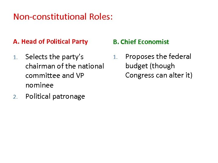 Non-constitutional Roles: A. Head of Political Party 1. 2. Selects the party's chairman of