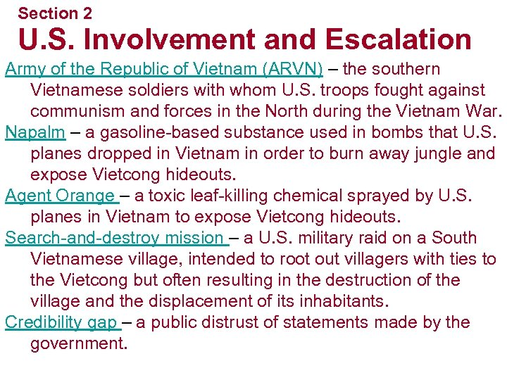 Section 2 U. S. Involvement and Escalation Army of the Republic of Vietnam (ARVN)