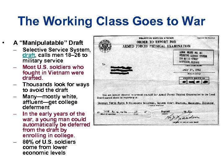 """The Working Class Goes to War • A """"Manipulatable"""" Draft – – – Selective"""